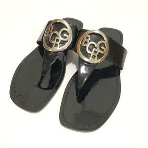 BCBG Felix Logo Patent Leather Thong Sandals